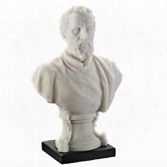"Michelangelo Renaissance Master"" Bonded Marble Resin Statue"