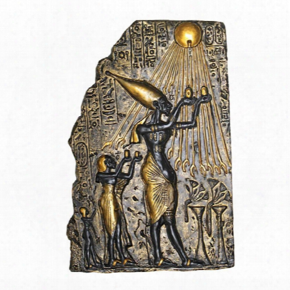 Pharaoh Akhenaten Offering To Aten The Sun Wall Csulpture