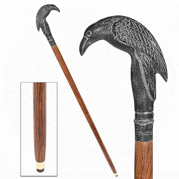 Poe's Mystic Raven Solid Hardwood Walking Stick
