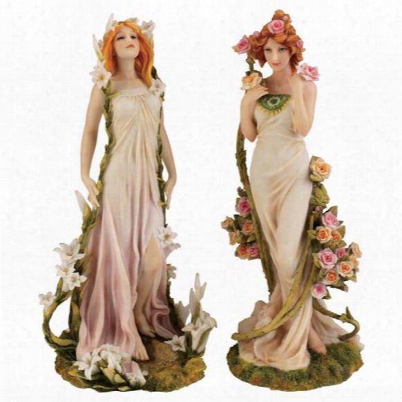 Spirit Of Spring Flower Twins Statues: Fleurs Du Printemps & Fleur D'ete