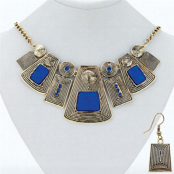 Stones Of Isis Contemporary Egyptian Necklace And Earring Ensemble