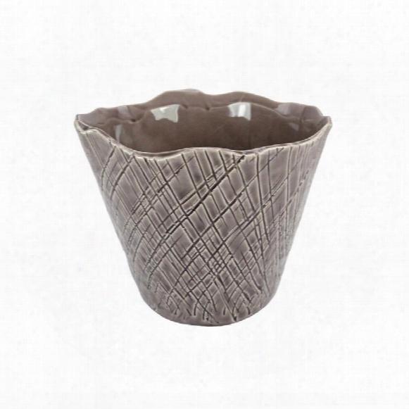 "Tama 5"" Hand-crafted Ceramic Crosshatch Vase"