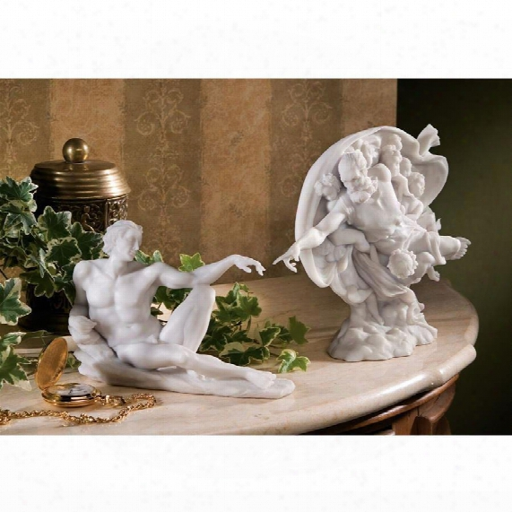 The Creation Of Adam Bonded Marble Statues: Set