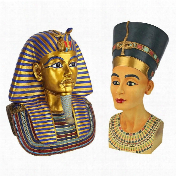 The Golden Mask Of Tutankhamen And Queen Nefertiti Sculptures: Large Set Of Two