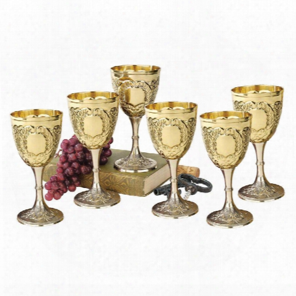 The King's Royal Chalice Embossed Brass Goblet: Set Of Six