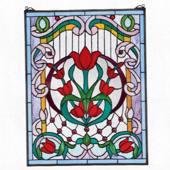 Tulip Treasure Tiffany-style Stained Glass Window
