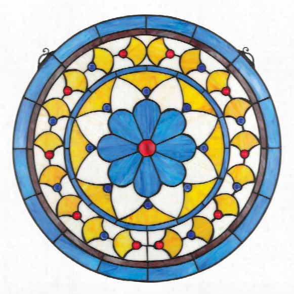"Victorian Blue Flower"" Stained Glass Window"