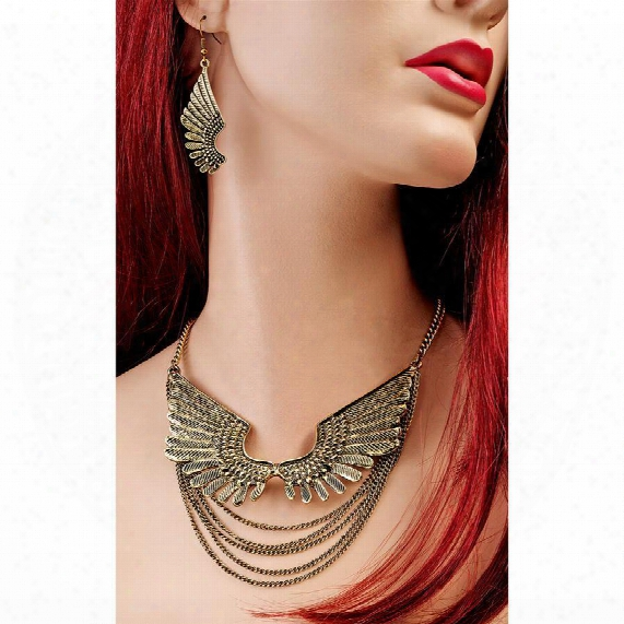 "Wings Of Isis"" Necklace And Earring Ensemble"