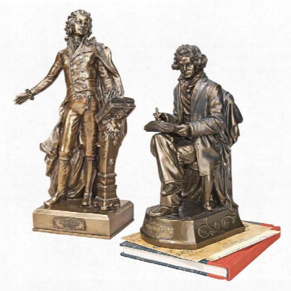 Wolfgang Amadeus Mozart (1756-1791) & Ludwig Van Beethove Statue (1770-1827)