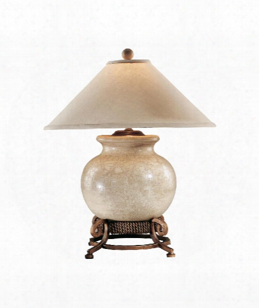 1 Light Table Lamp In Antique Crackle Porcelain
