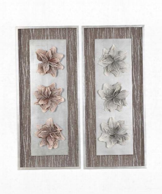 """Adrienn 18"""" Alternative Wall Art In Blush-gray-hand Applied Silver Leaf"""