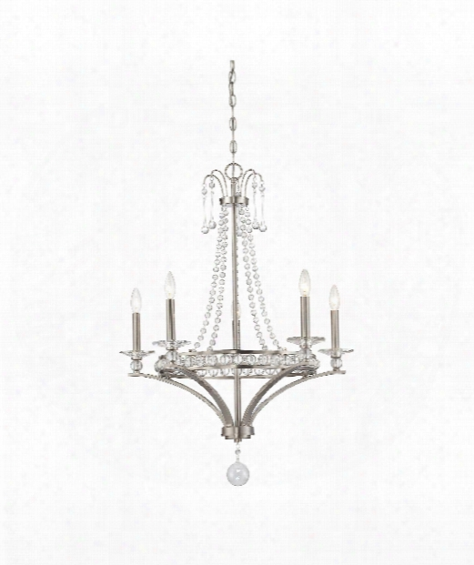 "Alana 27"" 5 Illumine Chandelier In Satin Nickel"