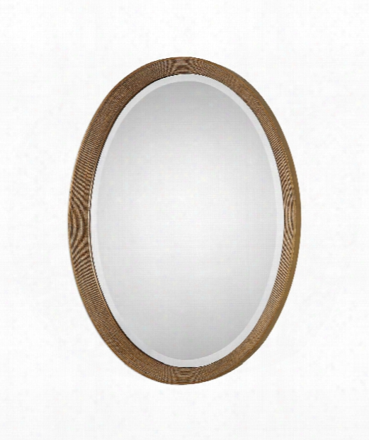 "Arena 21"" Wall Mirror In Antiqued-gold Leaf With Black"