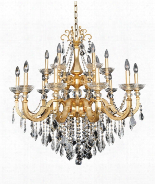 "Barret 39"" 18 Light Chandelier In French Gold-24k"