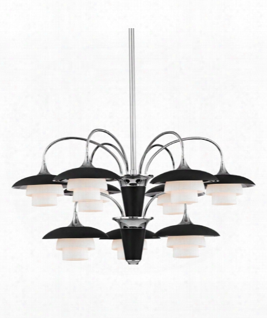 "Barron 31"" 9 Light Chandelier In Polished Nickel"