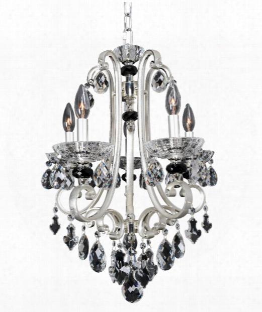 "Bedetti 18"" 5 Light Mini Chandelier In Two-tone Silver"