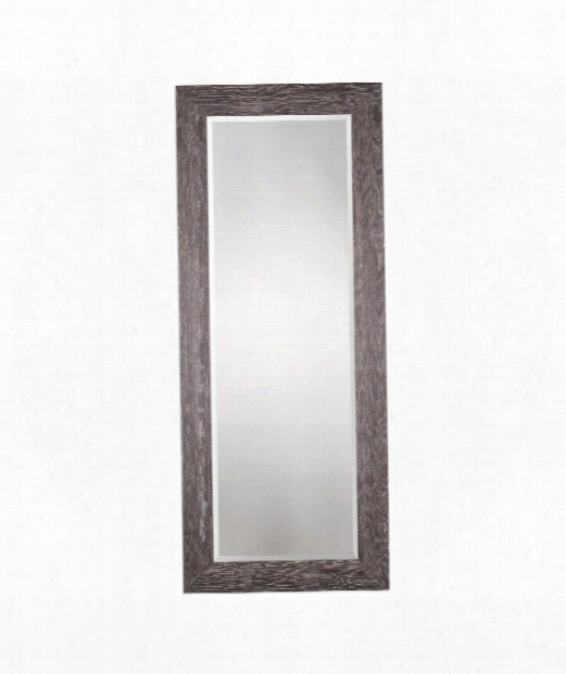 "Beresford 34"" Floor Mirror In Solid Pine Wood-charcoal"