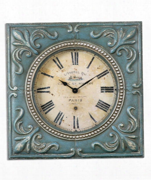"Canal St. Martin 24"" Wall Clock In Aged Ivory"
