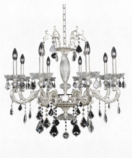 "Casella 30"" 8 Light Chandelier In Two-toone Silver"