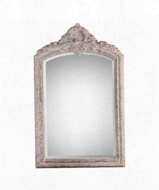 "Charente 36"" Wall Mirror In Distressed Aged Ivory With Rust Gray Undertones"