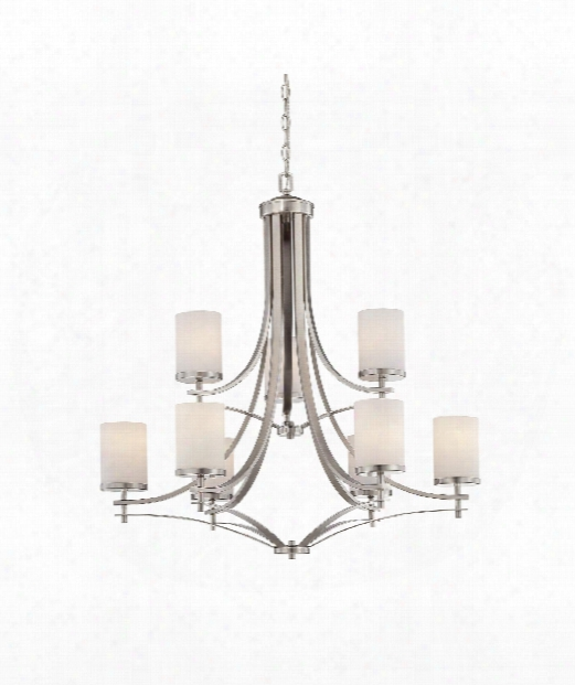 "Colton 33"" 9 Light Chandelier In Satin Nickel"