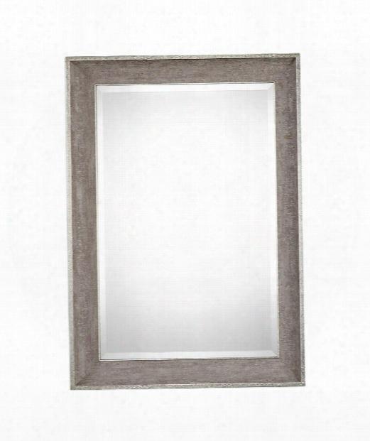 "Corrado 31"" Wall Mirror In Heavily Textured Gray With Metallic Silver"