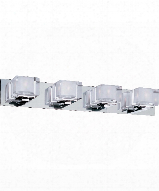 "Cubic 30"" 4 Light Bath Vanity Light In Polished Chrome"