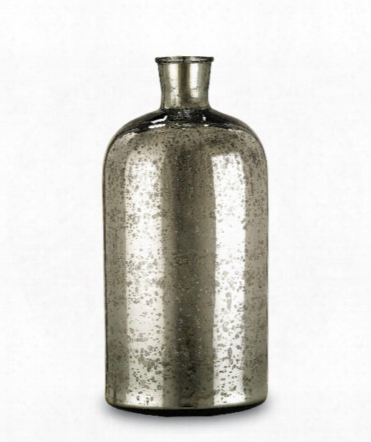 """Cypriot Bottle 9"""" Decorative Bottle-canister In Antique Silver"""