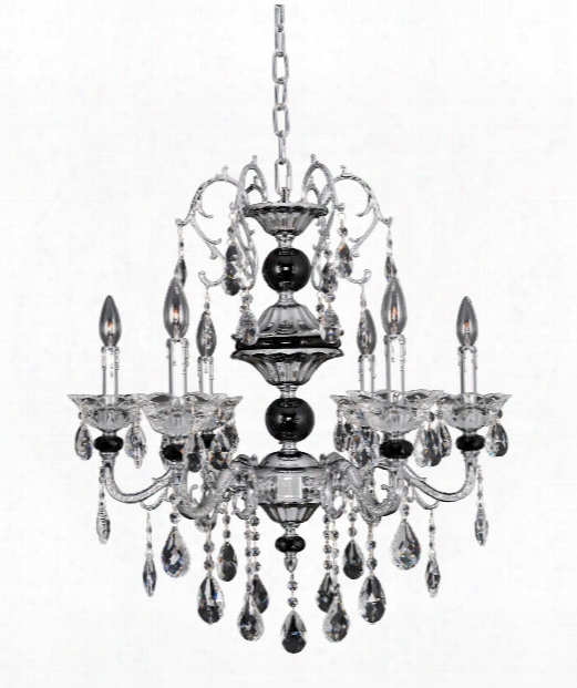 """Faure 26"""" 6 Light Chandelier In Polished Chrome"""