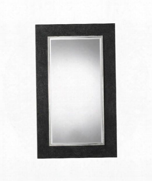 """Ferran 43"""" Wall Mirror In Textured Rustic Black-silver Leaf"""