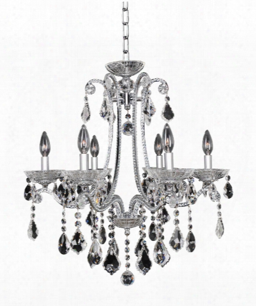 "Ferrero 24"" 6 Light Chandelier In Polished  Chrome"