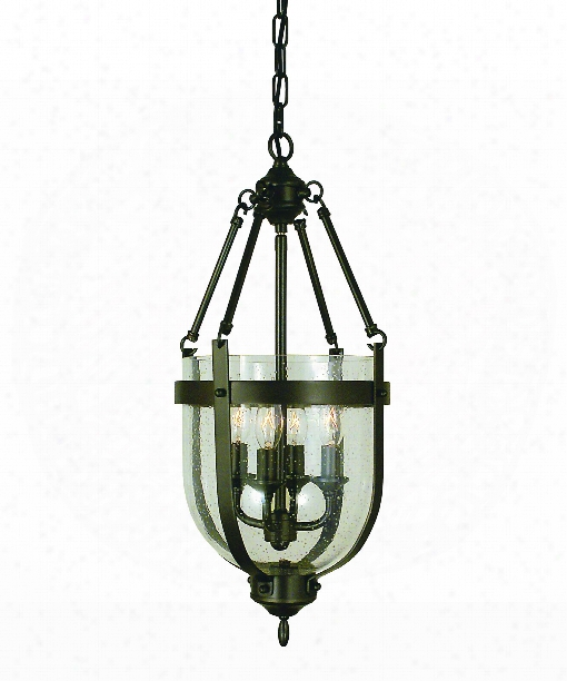 "Hannover 10"" 4 Light Foyer Pendant In Antique Brass"