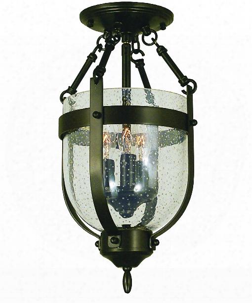 "Hannover 8"" 3 Light Semi Flush Mount In Antique Brass"