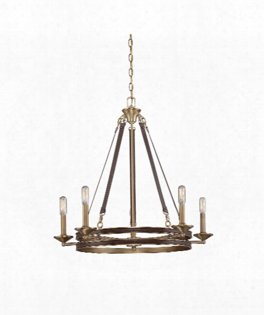 """Harrington 28"""" 5 Light Chandelier In Harness Leather With Rubbed Brass"""