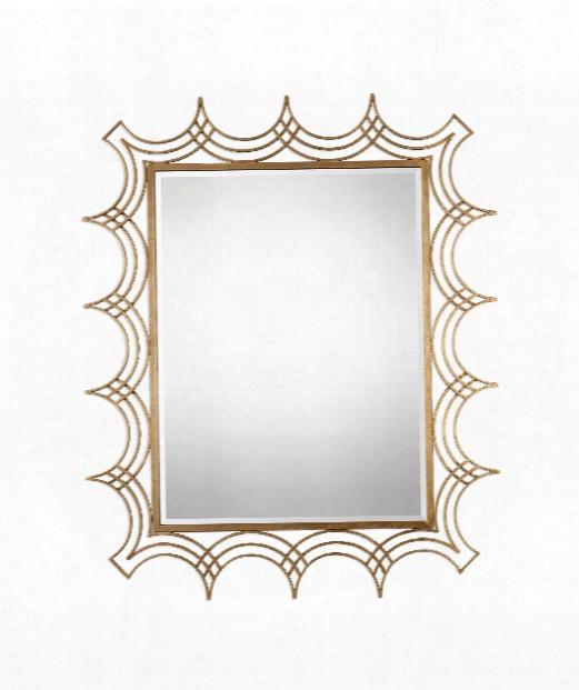 """Kiowa 47"""" Wall Mirror In Antiqued Gold Leaf"""