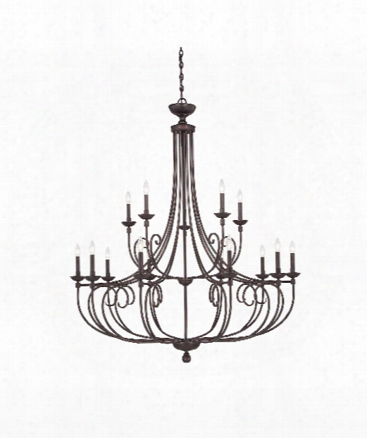 "Langley 50"" 15 Light Chandelier In English Bronze"
