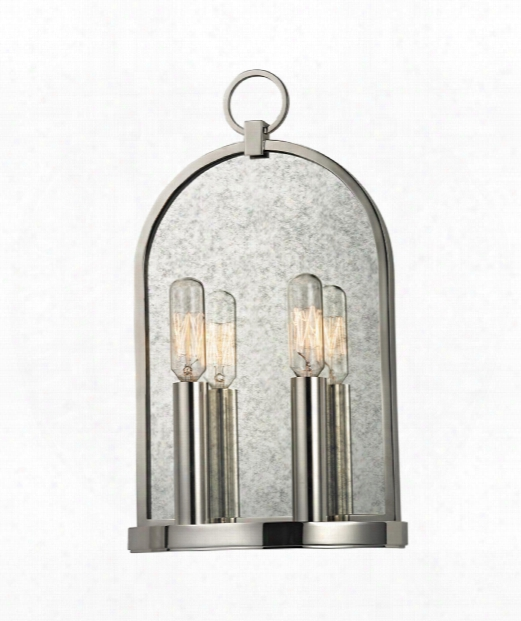 "Lowell 8"" 2 Light Wall Sconce In Polished Nickel"