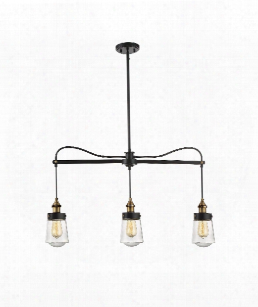 "Macau 35"" 3 Light Island Light In Vintage Black With Warm Brass"
