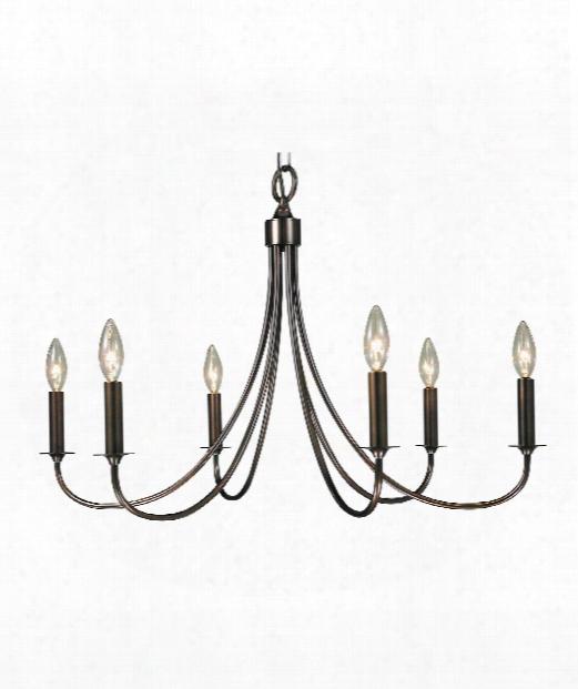 """Maisonette 28"""" 6 Light Chandelier In Mahogany Bronze"""