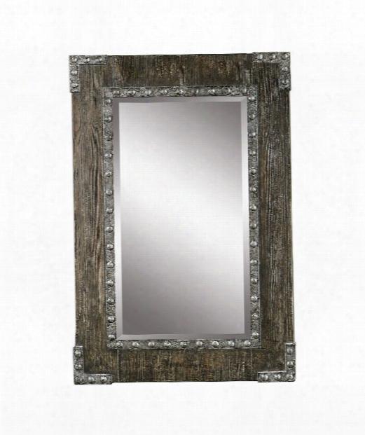"Malton 25"" Wall Mirror In Aged Wood-burnished Silver"