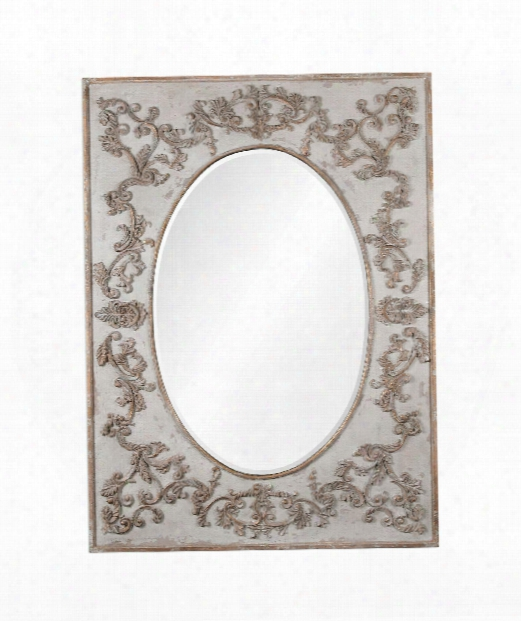 "Modena 51"" Floor Mirror In Lightly Distressed Aged Ivory With Antiqued Gold Leaf And A Light Gray Glaze"