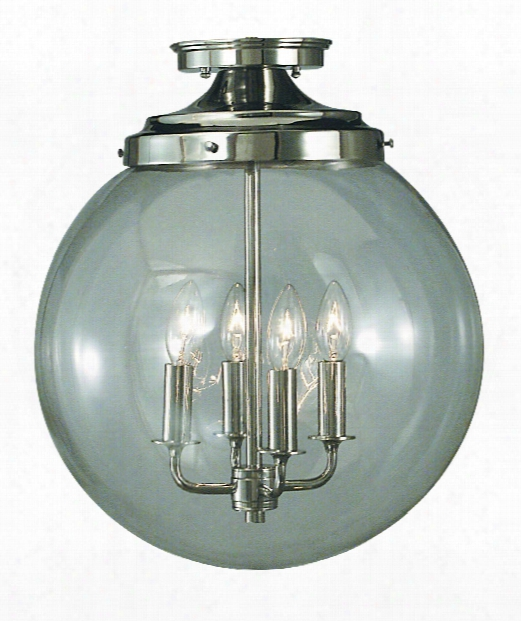 "Moderne 14"" 4 Light Semi Flush Mount In Polished Silver"