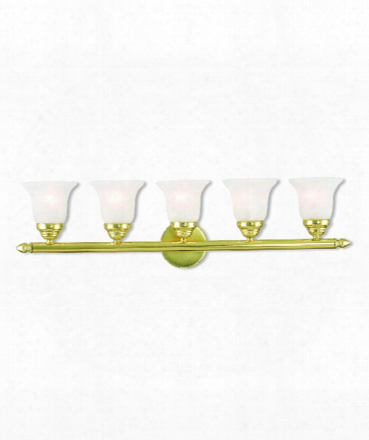 "Neptune 32"" 5 Light Bath Vanity Light In Polished Brass"