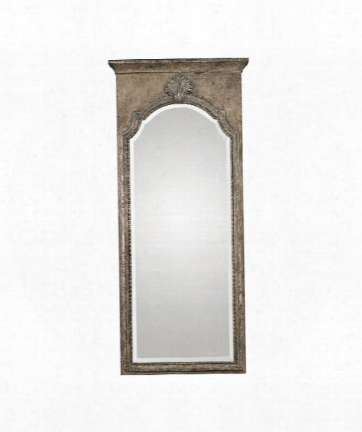 "Nevola 32"" Wall Mirror In Heavily Antiqued Silver Leaf"
