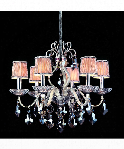 Puccini 6 Light Chandelier In Two-rone Silver