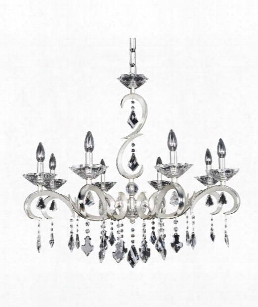 """Scarlatti 32"""" 8 Light Chandelier In Two-tone Silver"""