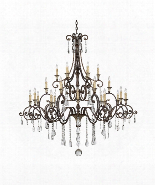 """St. Laurence 66"""" 24 Light Chandelier In New Tortoise Shell With Silver"""