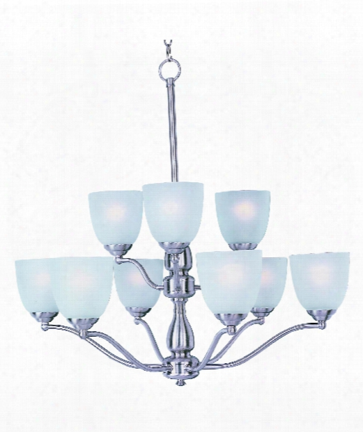 "Stefan 30"" 9 Light Chandelier In Satin Nickel"