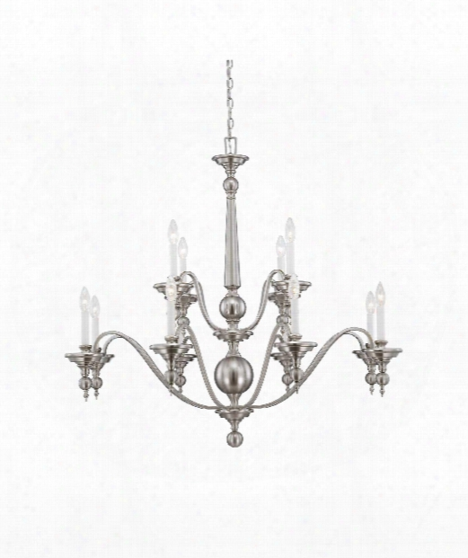 "Sutton Place 42"" 12 Light Chandelier In Satin Nickel"