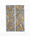 """Falling Feathers 14"""" Alternative Wall Art in Antiqued Painted Gold-Burnished Silver"""